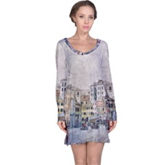 Venice Small Town Watercolor Long Sleeve Nightdress