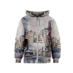 Venice Small Town Watercolor Kids  Zipper Hoodie by BangZart