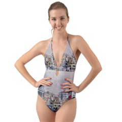 Venice Small Town Watercolor Halter Cut Out One Piece Swimsuit