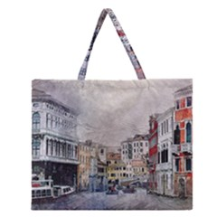 Venice Small Town Watercolor Zipper Large Tote Bag