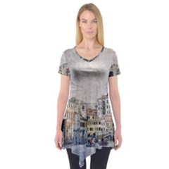 Venice Small Town Watercolor Short Sleeve Tunic  by BangZart