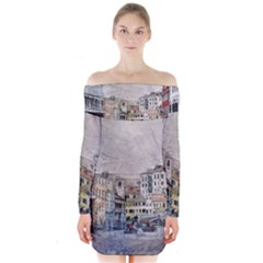 Venice Small Town Watercolor Long Sleeve Off Shoulder Dress by BangZart