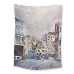 Venice Small Town Watercolor Medium Tapestry