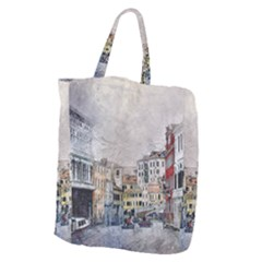 Venice Small Town Watercolor Giant Grocery Zipper Tote