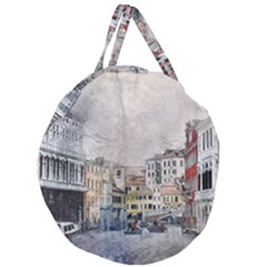 Venice Small Town Watercolor Giant Round Zipper Tote