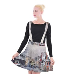 Venice Small Town Watercolor Suspender Skater Skirt by BangZart