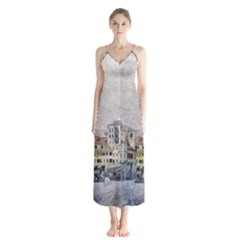 Venice Small Town Watercolor Button Up Chiffon Maxi Dress by BangZart