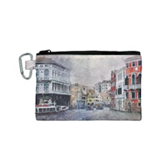 Venice Small Town Watercolor Canvas Cosmetic Bag (small)