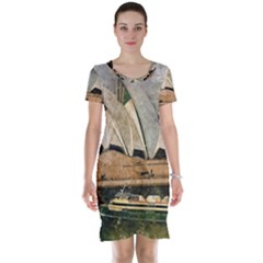 Sydney The Opera House Watercolor Short Sleeve Nightdress