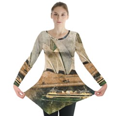 Sydney The Opera House Watercolor Long Sleeve Tunic