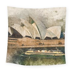 Sydney The Opera House Watercolor Square Tapestry (large) by BangZart