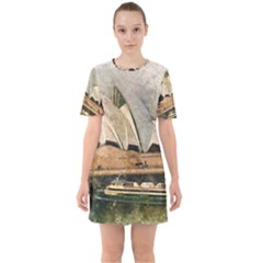 Sydney The Opera House Watercolor Sixties Short Sleeve Mini Dress