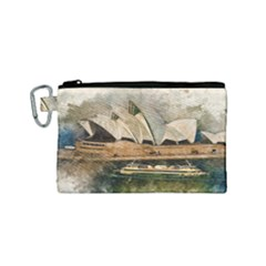 Sydney The Opera House Watercolor Canvas Cosmetic Bag (small)