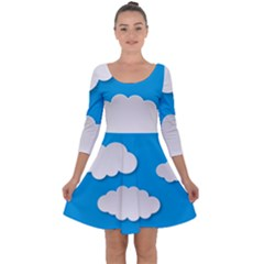 Clouds Sky Background Comic Quarter Sleeve Skater Dress