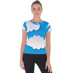 Clouds Sky Background Comic Short Sleeve Sports Top