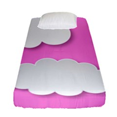 Clouds Sky Pink Comic Background Fitted Sheet (single Size)