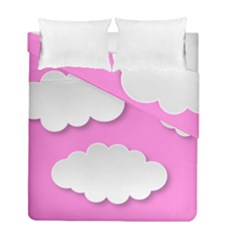 Clouds Sky Pink Comic Background Duvet Cover Double Side (full/ Double Size)