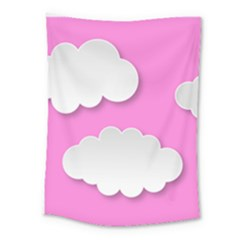 Clouds Sky Pink Comic Background Medium Tapestry by BangZart