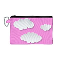 Clouds Sky Pink Comic Background Canvas Cosmetic Bag (medium)