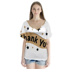 Thank You Lettering Thank You Ornament Banner V Neck Flutter Sleeve Top by BangZart