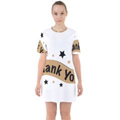 Thank You Lettering Thank You Ornament Banner Sixties Short Sleeve Mini Dress
