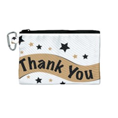 Thank You Lettering Thank You Ornament Banner Canvas Cosmetic Bag (medium)