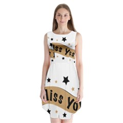 Lettering Miss You Banner Sleeveless Chiffon Dress   by BangZart