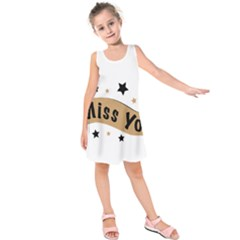 Lettering Miss You Banner Kids  Sleeveless Dress