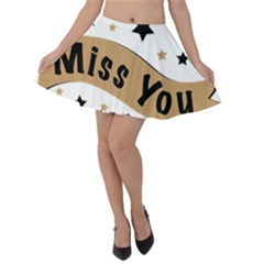 Lettering Miss You Banner Velvet Skater Skirt by BangZart