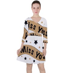 Lettering Miss You Banner Ruffle Dress