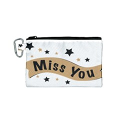 Lettering Miss You Banner Canvas Cosmetic Bag (small)