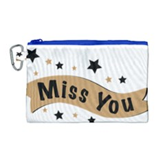 Lettering Miss You Banner Canvas Cosmetic Bag (large)