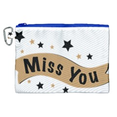 Lettering Miss You Banner Canvas Cosmetic Bag (xl)