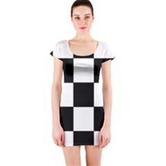 Grid Domino Bank And Black Short Sleeve Bodycon Dress