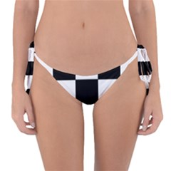 Grid Domino Bank And Black Reversible Bikini Bottom