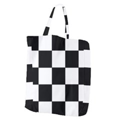 Grid Domino Bank And Black Giant Grocery Zipper Tote