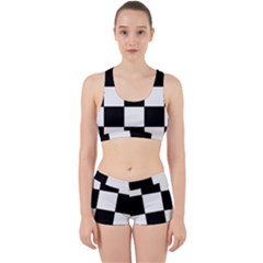 Grid Domino Bank And Black Work It Out Sports Bra Set