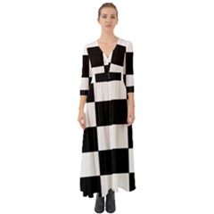 Grid Domino Bank And Black Button Up Boho Maxi Dress