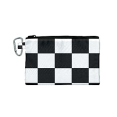 Grid Domino Bank And Black Canvas Cosmetic Bag (small) by BangZart