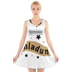 Einladung Lettering Invitation Banner V Neck Sleeveless Skater Dress