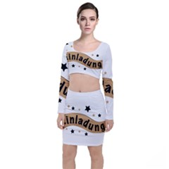 Einladung Lettering Invitation Banner Long Sleeve Crop Top & Bodycon Skirt Set by BangZart