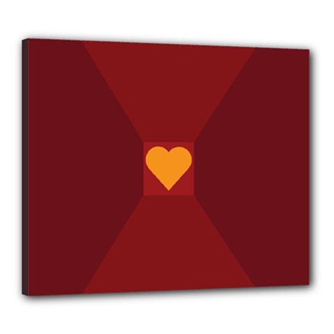 Heart Red Yellow Love Card Design Canvas 24  X 20  by BangZart