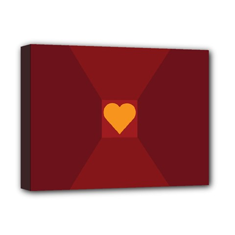 Heart Red Yellow Love Card Design Deluxe Canvas 16  X 12   by BangZart
