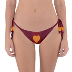 Heart Red Yellow Love Card Design Reversible Bikini Bottom