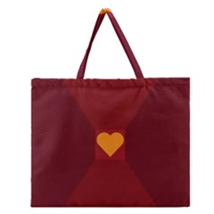 Heart Red Yellow Love Card Design Zipper Large Tote Bag