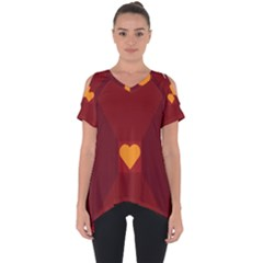 Heart Red Yellow Love Card Design Cut Out Side Drop Tee