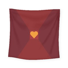 Heart Red Yellow Love Card Design Square Tapestry (small)