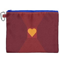 Heart Red Yellow Love Card Design Canvas Cosmetic Bag (xxxl)
