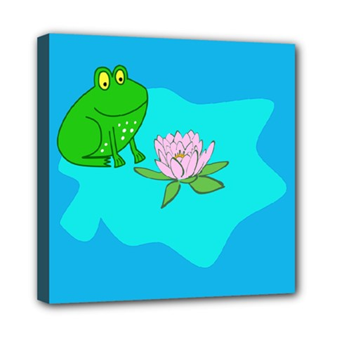 Frog Flower Lilypad Lily Pad Water Mini Canvas 8  X 8  by BangZart