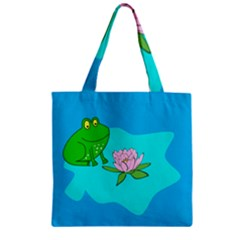 Frog Flower Lilypad Lily Pad Water Zipper Grocery Tote Bag